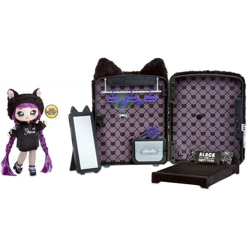 Na Na Na Surprise 3 In 1 Backpack Bedroom Black Kitty Playset With Limited Edition Doll Familand
