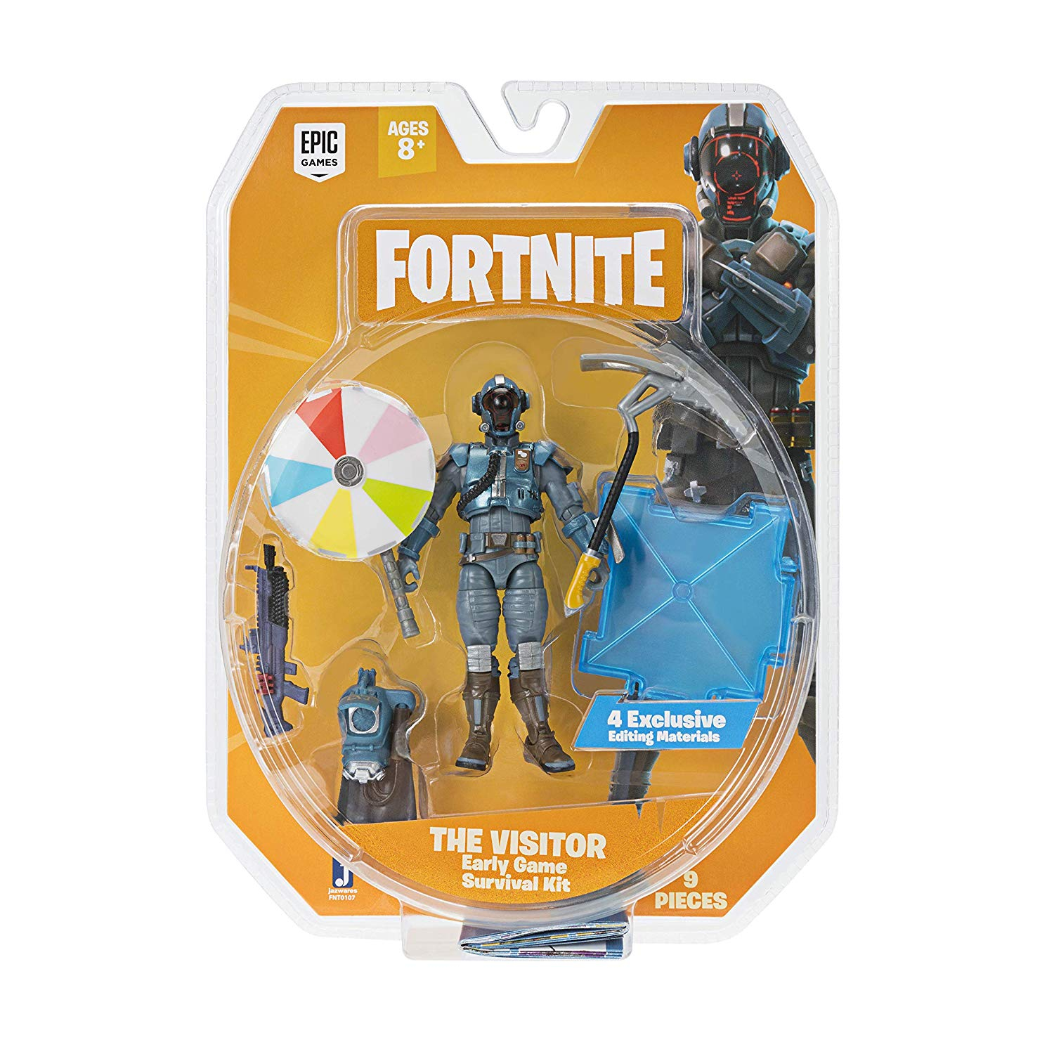 JAZWARES FORTNITE Early Game Survival Kit Figure Pack - The Visitor 10 cm