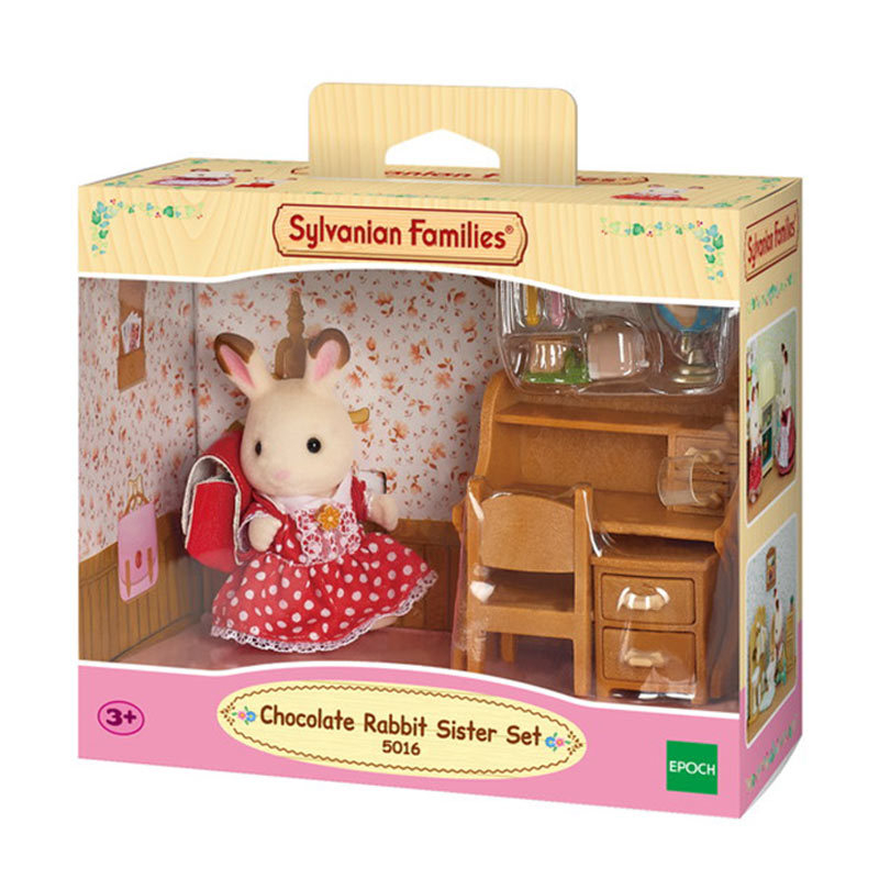 SYLVANIAN FAMILIES CHOCOLATE RABBIT SISTER & DESK