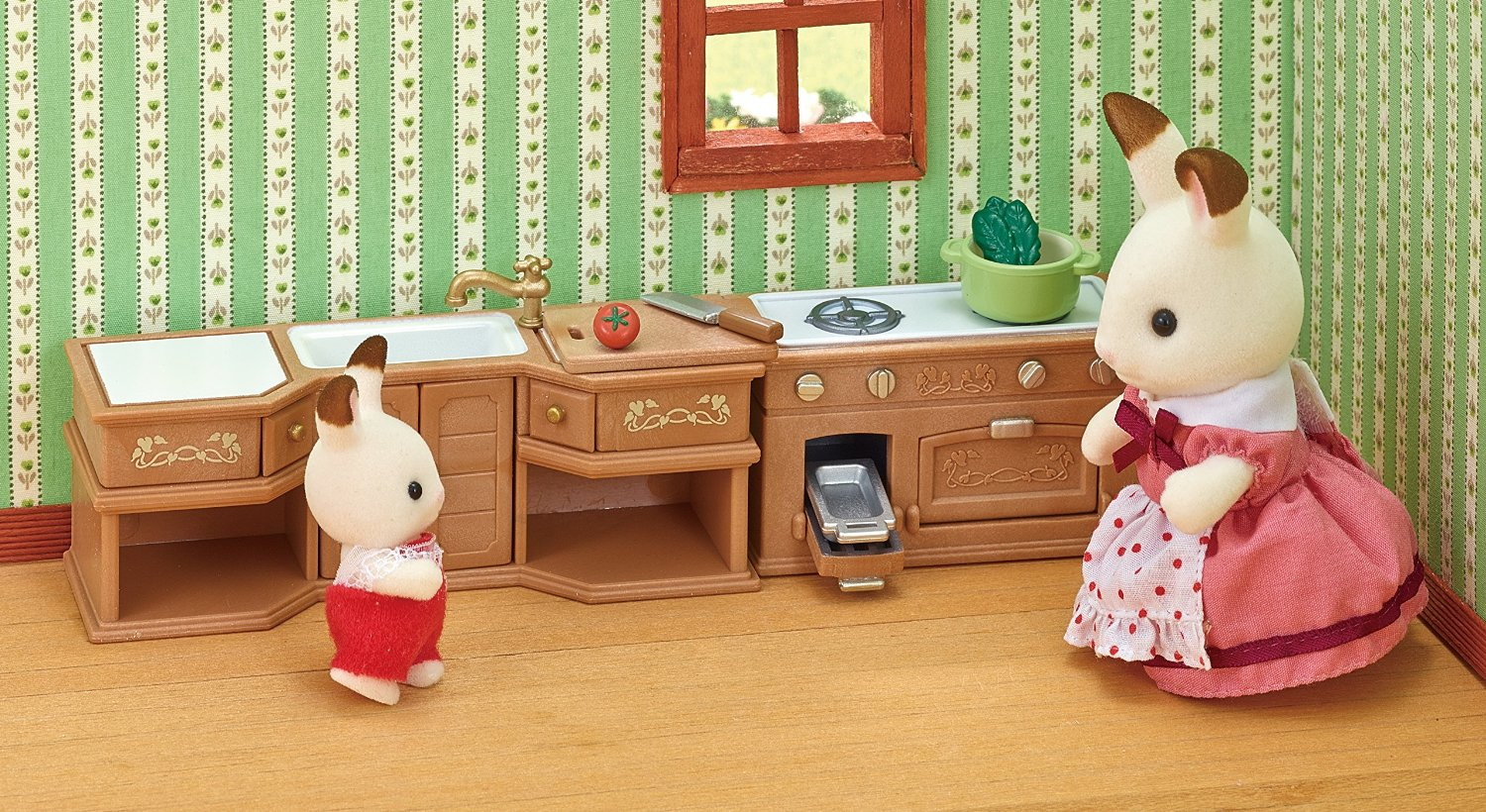 SYLVANIAN FAMILIES KITCHEN STOVE, SINK & COUNTER SET