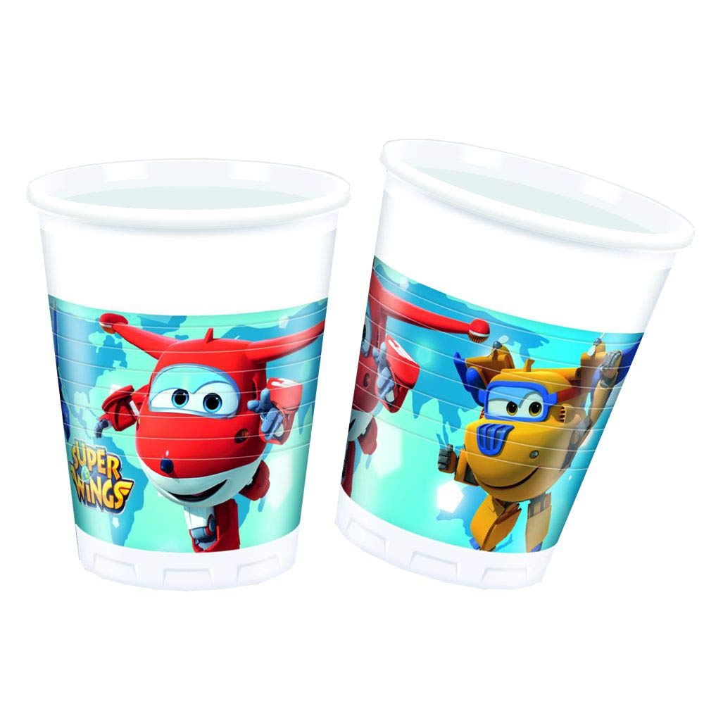 SUPER WINGS PLASTIC CUPS 200ML 8PSC