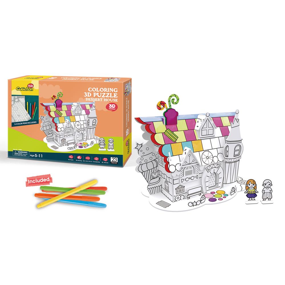 """CUBICFUN Krāsojama 3D puzle """"Saldumu māja"""""""