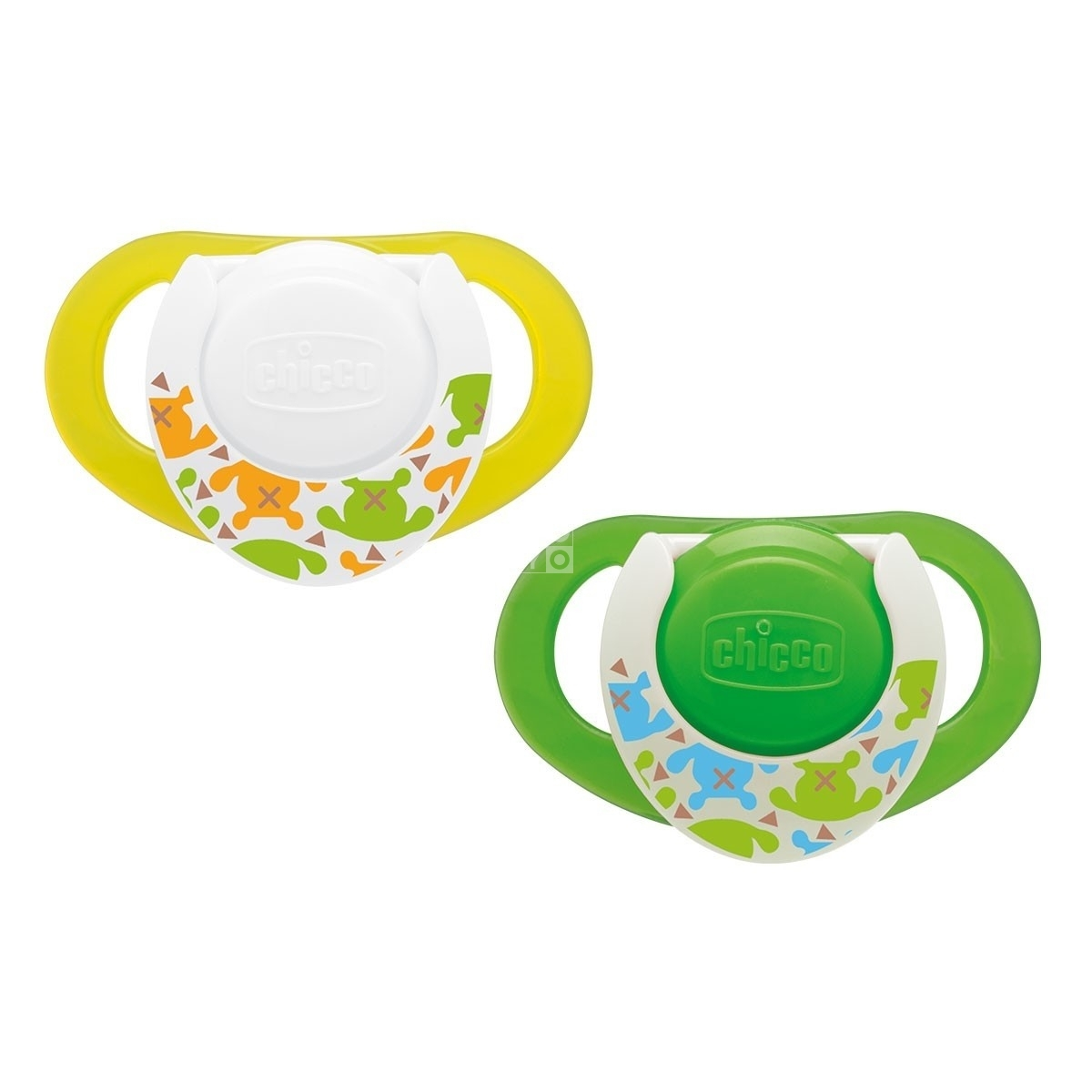 CHICB PHYSIO COMPACT SILICONE SOOTHER LUMI 6-12M / 2PC - GLOWING