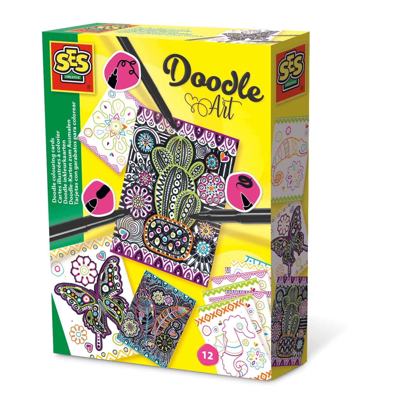 Doodle Coloring Cards