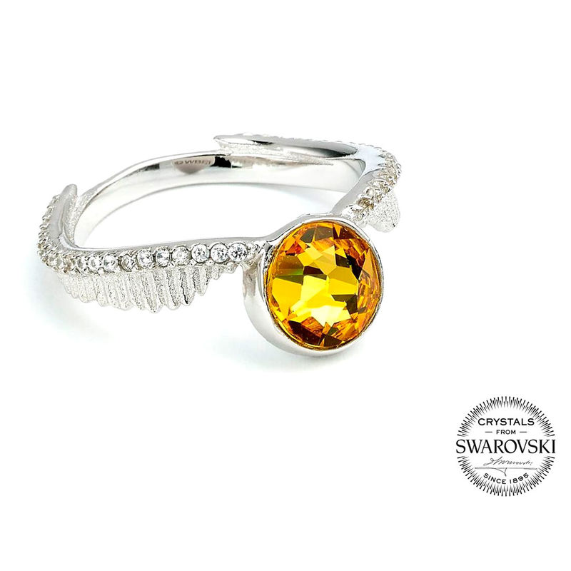 Harry Potter Golden Snitch swarovski silver ring